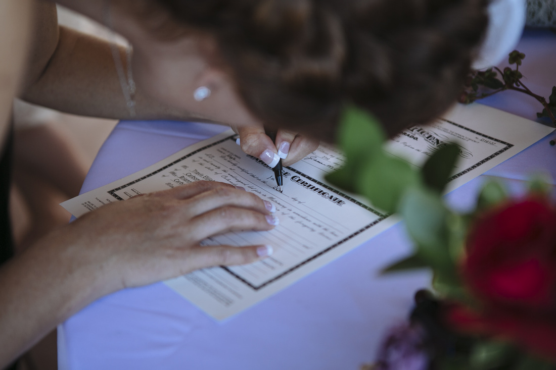 Aspen wedding picture, country wedding, destination wedding, signing marriage license