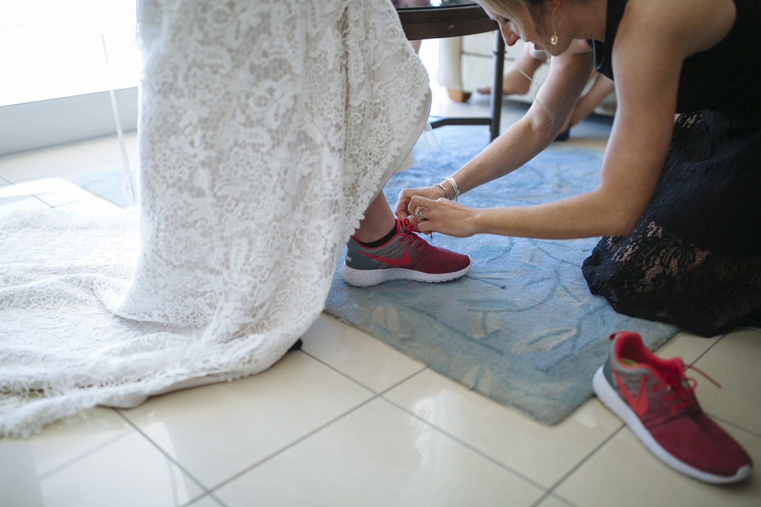 Bride Getting Ready Picture, Pier House Resort Key West, Key West Photography, Nike Tennis Shoes, Wedding shoes