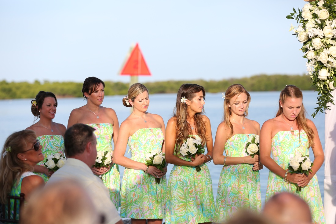 ceremony,bridesmaids,yacht club wedding, key west wedding photography, key west wedding photographers, key west wedding photographer, wedding photography, destination wedding, beach wedding, tropical wedding inspiration,