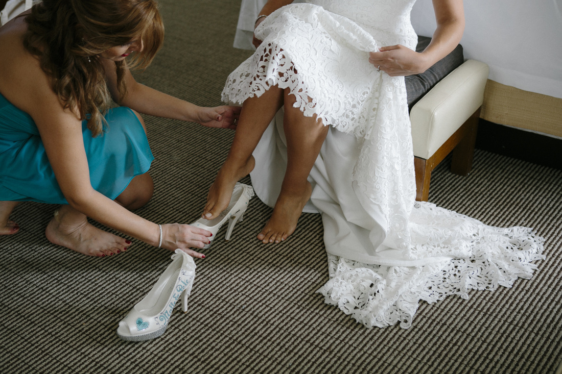 Bride getting ready picture, wedding shoes, The Reach Hotel wedding,