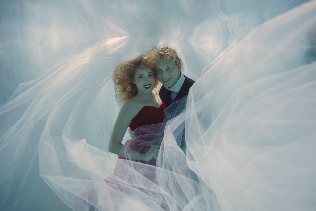 Underwater Photo, Underwater Save the date cards,  Save the date inspiration, Romi Burianova, Underwater Photographer, Key West Photographer, Key West Photography, Ethereal Underwater Pictures, Engagement Photos